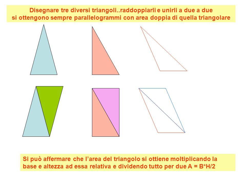 Disegnare tre diversi triangoli