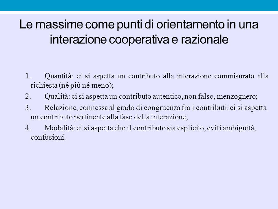 Le massime come punti di orientamento in una interazione cooperativa e razionale