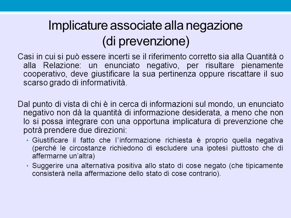 Implicature associate alla negazione (di prevenzione)