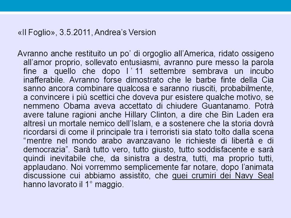 «Il Foglio», 3.5.2011, Andrea's Version