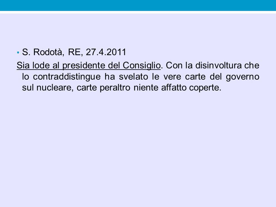 S. Rodotà, RE, 27.4.2011