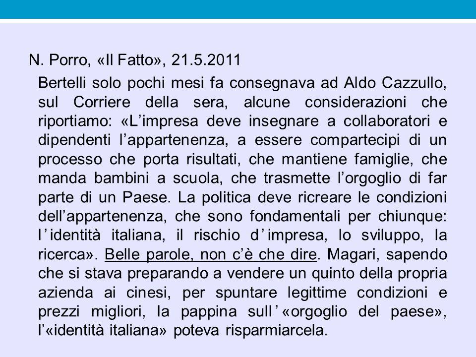 N. Porro, «Il Fatto», 21.5.2011