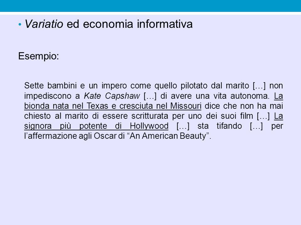 Variatio ed economia informativa