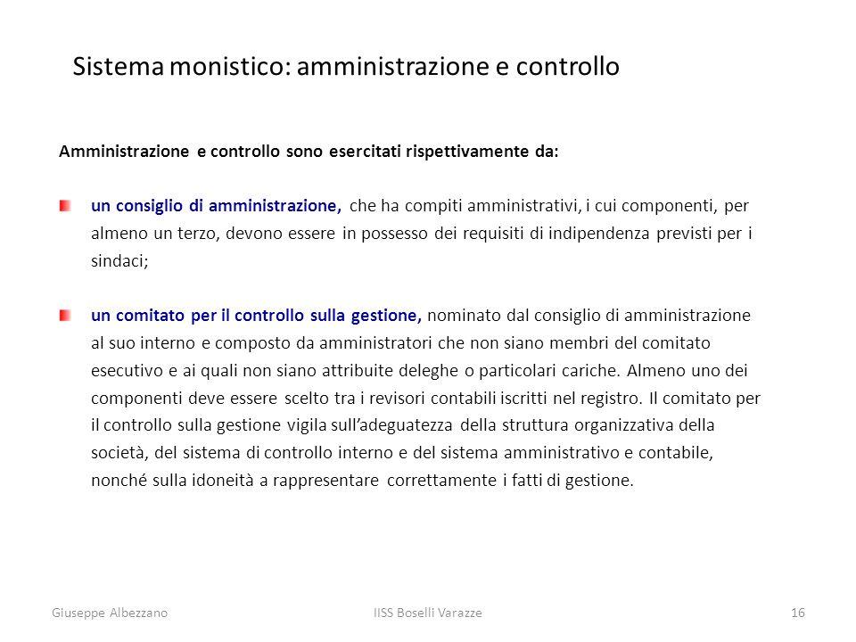 Sistema monistico: amministrazione e controllo