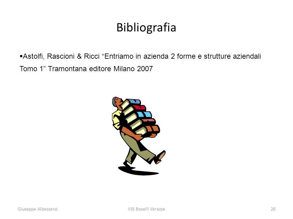 Bibliografia Astolfi, Rascioni & Ricci Entriamo in azienda 2 forme e strutture aziendali Tomo 1 Tramontana editore Milano 2007.