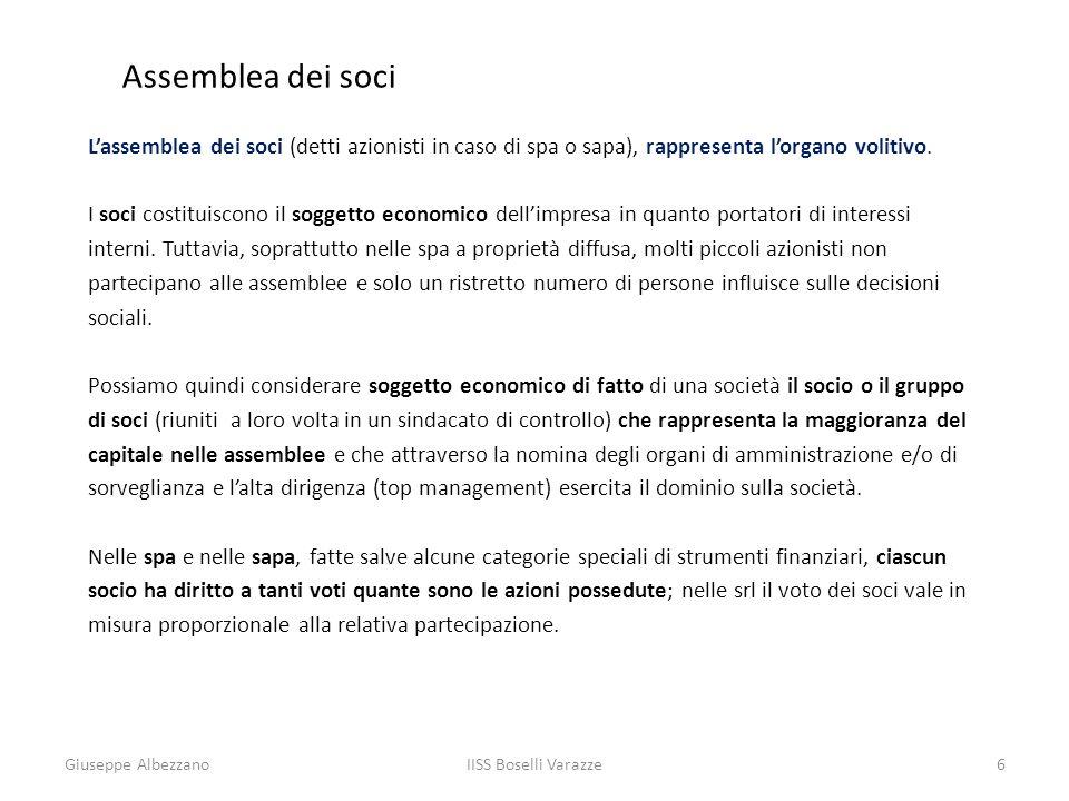 Assemblea dei soci L'assemblea dei soci (detti azionisti in caso di spa o sapa), rappresenta l'organo volitivo.