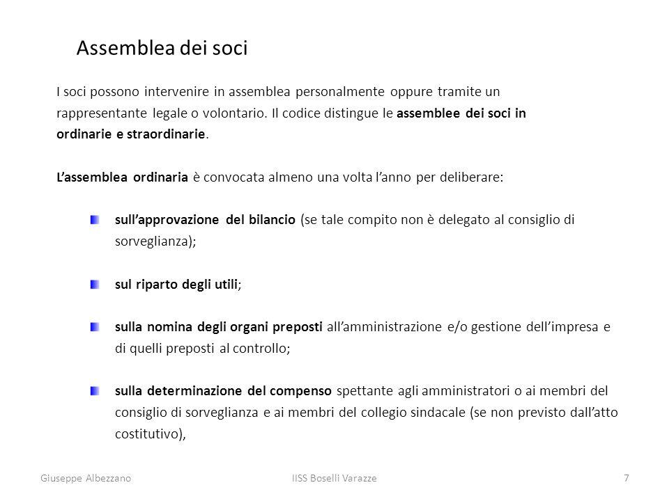 Assemblea dei soci I soci possono intervenire in assemblea personalmente oppure tramite un.