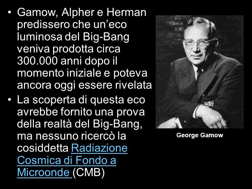 Gamow, Alpher e Herman predissero che un'eco luminosa del Big-Bang veniva prodotta circa 300.000 anni dopo il momento iniziale e poteva ancora oggi essere rivelata