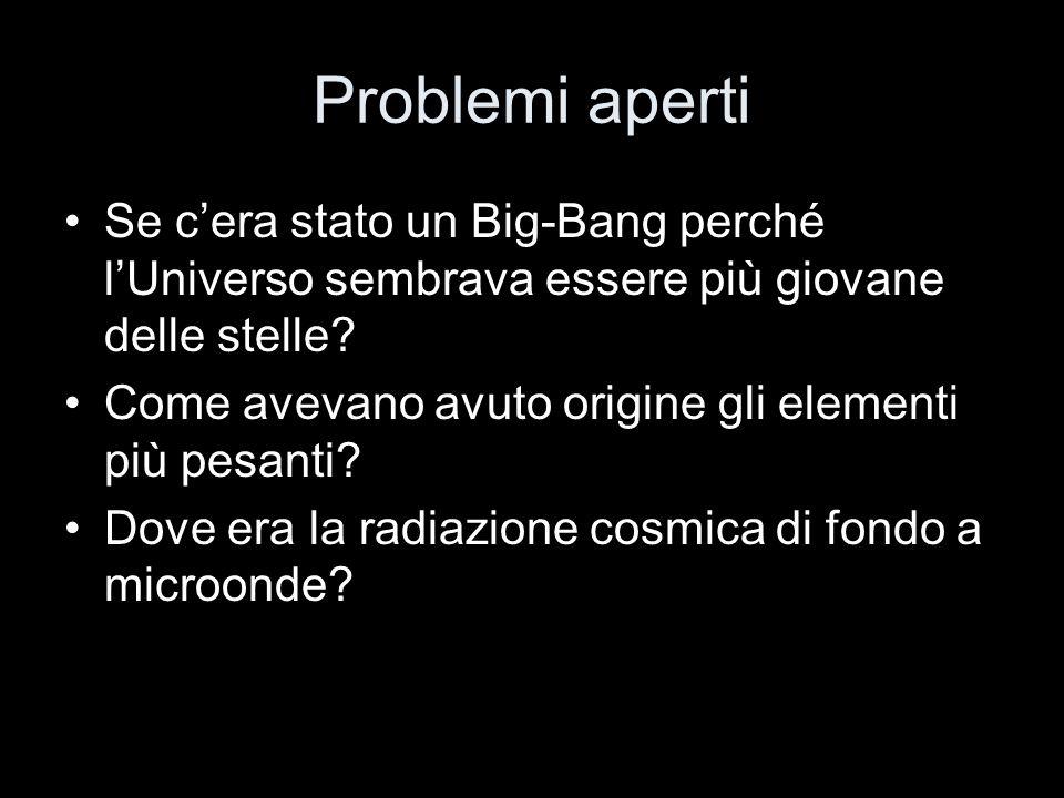 Problemi aperti Se c'era stato un Big-Bang perché l'Universo sembrava essere più giovane delle stelle