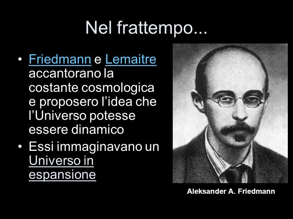 Nel frattempo... Friedmann e Lemaitre accantorano la costante cosmologica e proposero l'idea che l'Universo potesse essere dinamico.