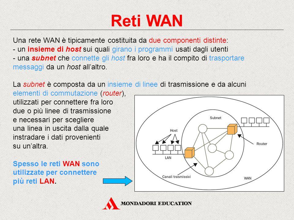 Reti WAN Una rete WAN è tipicamente costituita da due componenti distinte: un insieme di host sui quali girano i programmi usati dagli utenti.