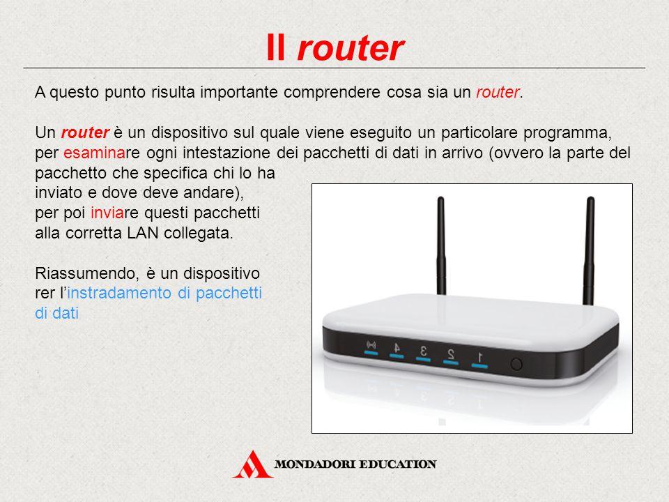Il router A questo punto risulta importante comprendere cosa sia un router.