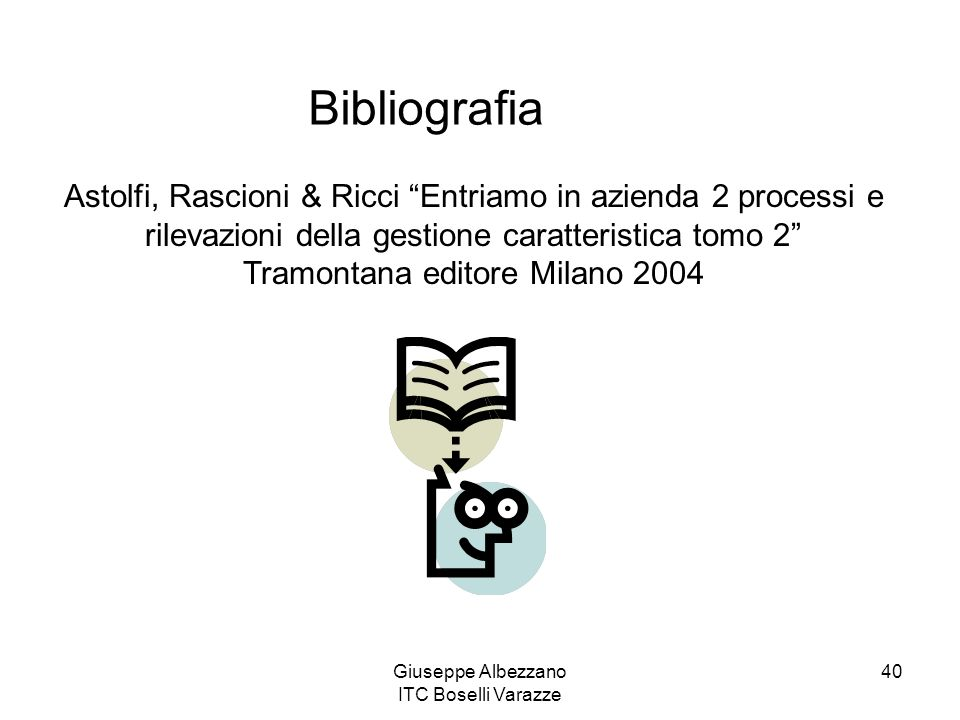 Bibliografia Astolfi, Rascioni & Ricci Entriamo in azienda 2 processi e rilevazioni della gestione caratteristica tomo 2