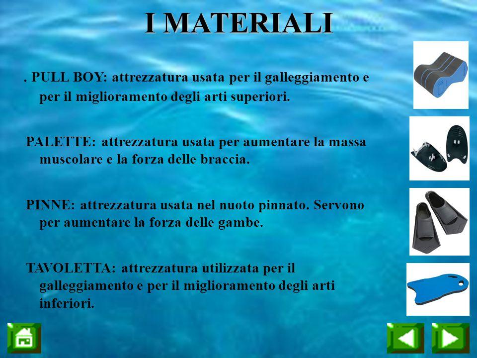 I MATERIALI . PULL BOY: attrezzatura usata per il galleggiamento e per il miglioramento degli arti superiori.