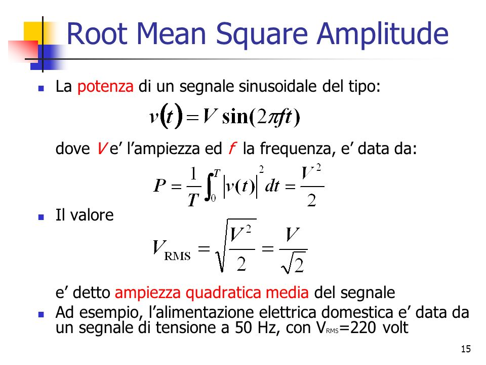 Root Mean Square Amplitude