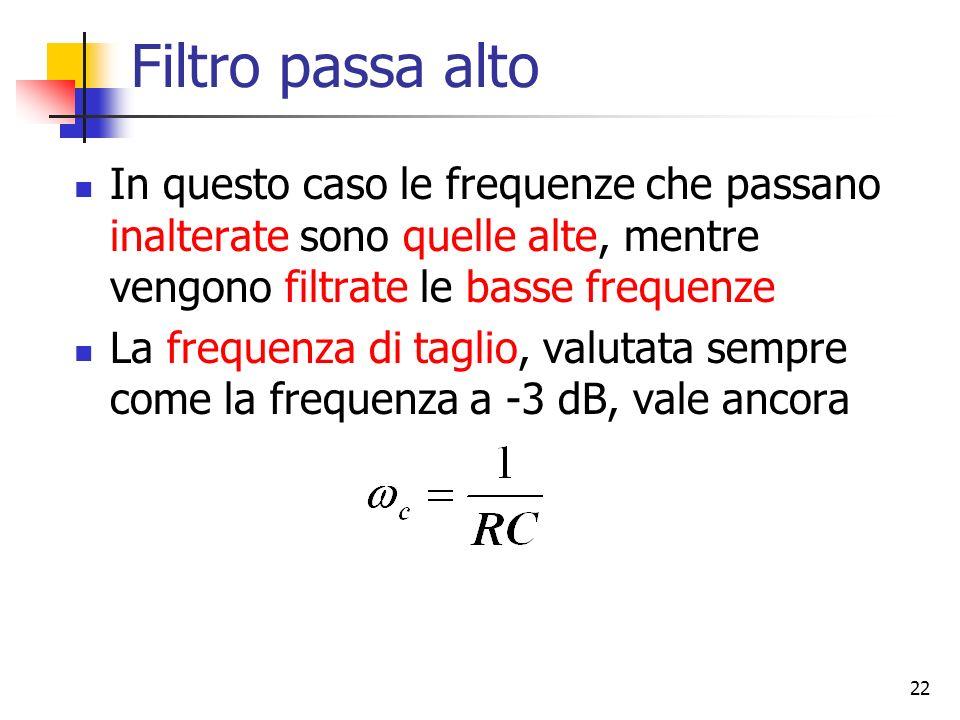 Filtro passa alto In questo caso le frequenze che passano inalterate sono quelle alte, mentre vengono filtrate le basse frequenze.