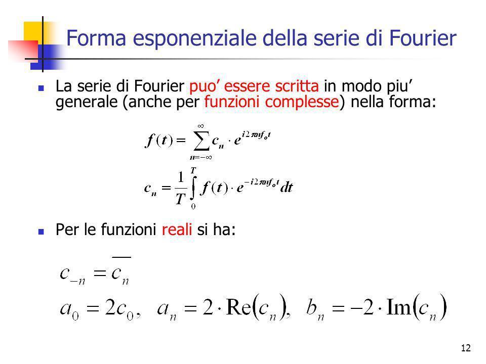 Forma esponenziale della serie di Fourier