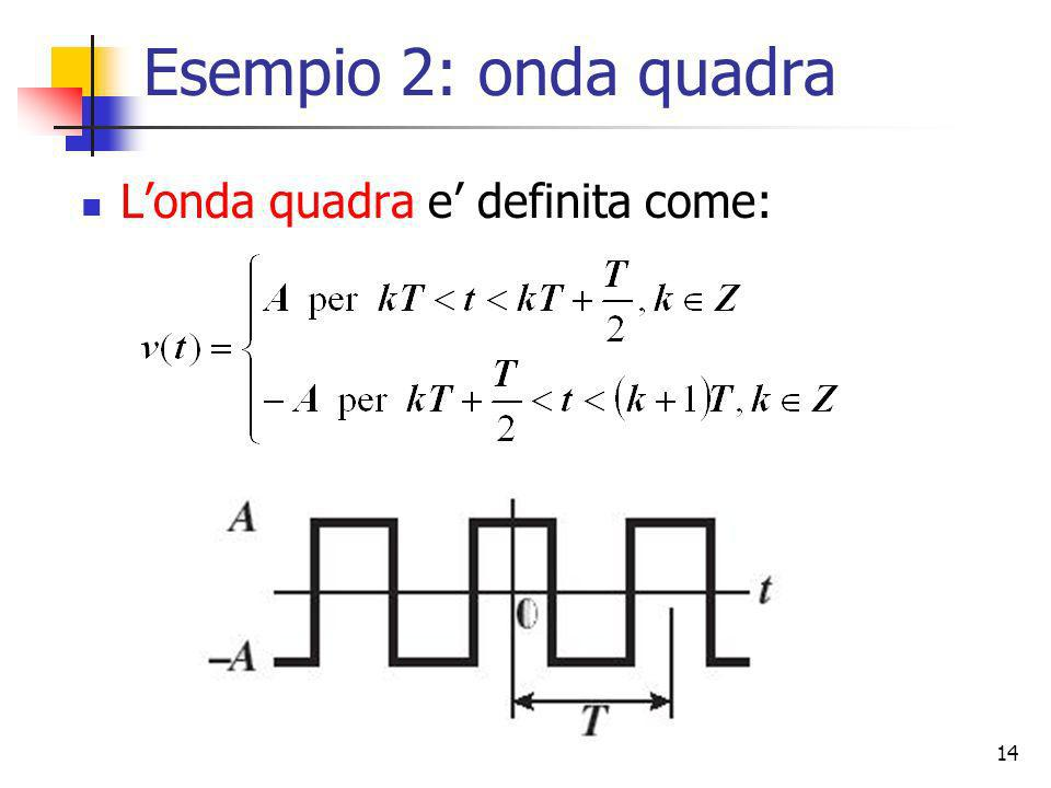 Esempio 2: onda quadra L'onda quadra e' definita come: