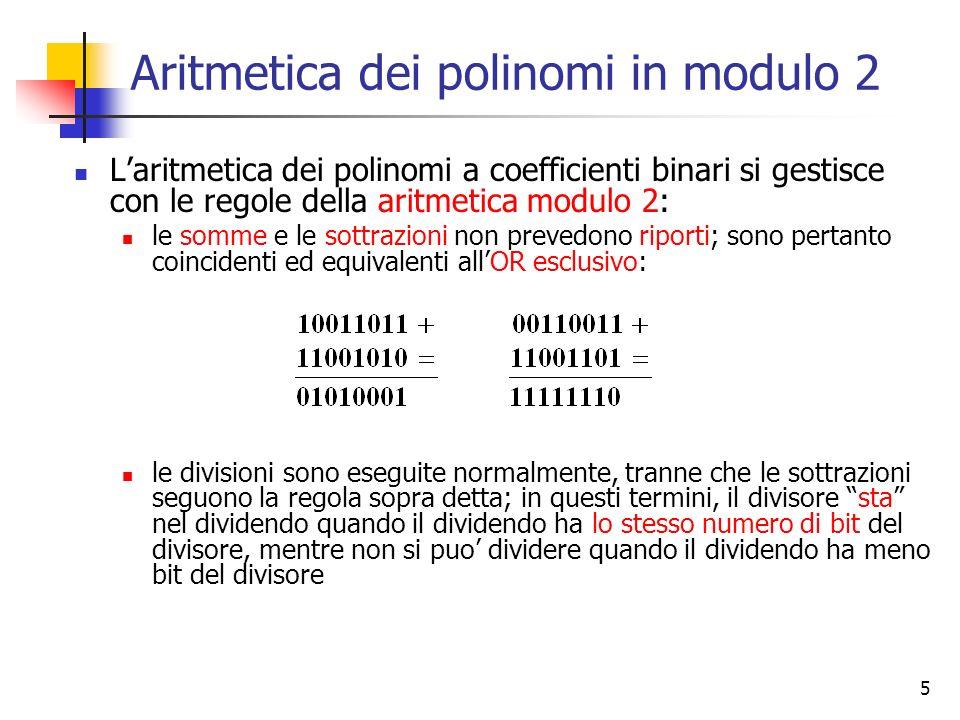 Aritmetica dei polinomi in modulo 2