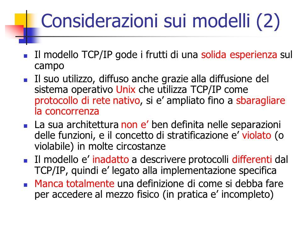 Considerazioni sui modelli (2)