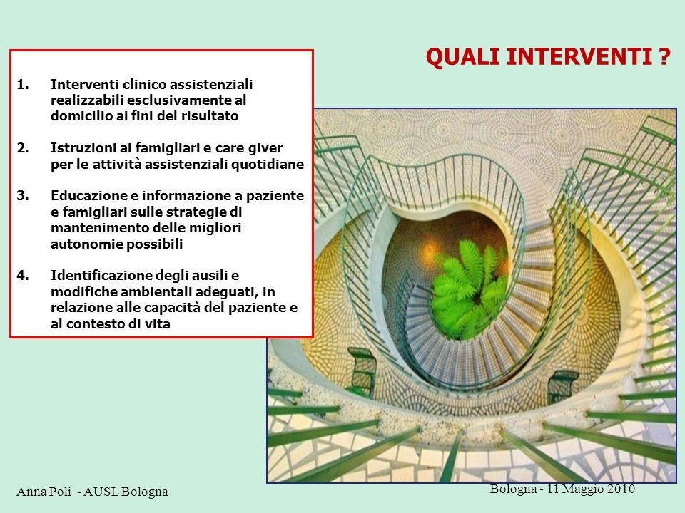 QUALI INTERVENTI Interventi clinico assistenziali realizzabili esclusivamente al domicilio ai fini del risultato.
