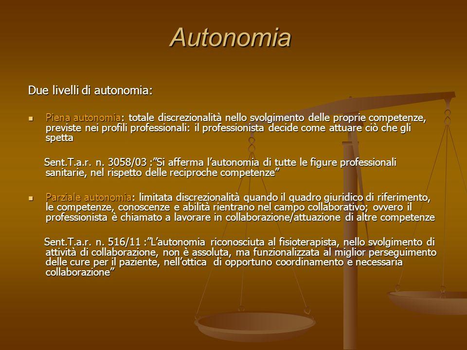 Autonomia Due livelli di autonomia: