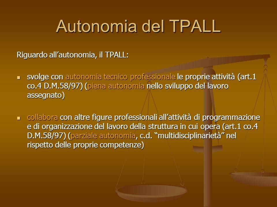 Autonomia del TPALL Riguardo all'autonomia, il TPALL: