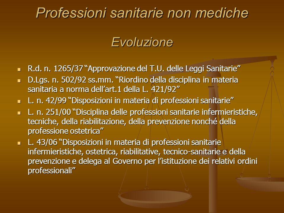 Professioni sanitarie non mediche Evoluzione