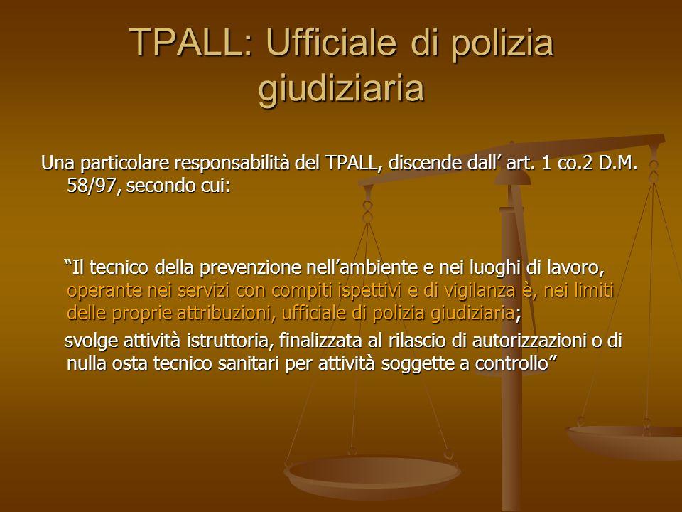 TPALL: Ufficiale di polizia giudiziaria