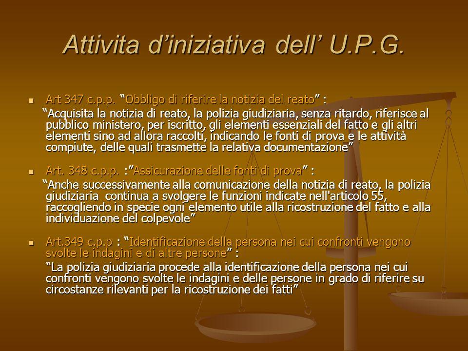 Attivita d'iniziativa dell' U.P.G.