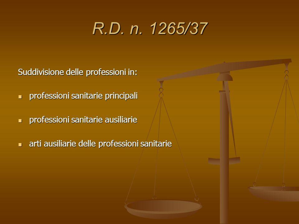 R.D. n. 1265/37 Suddivisione delle professioni in: