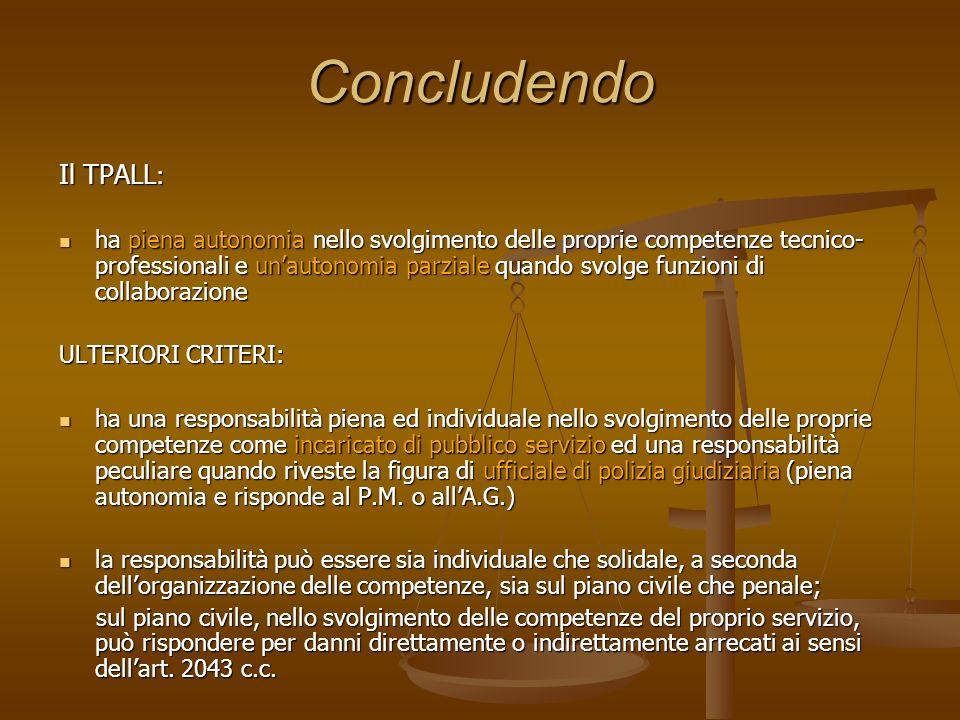 Concludendo Il TPALL: