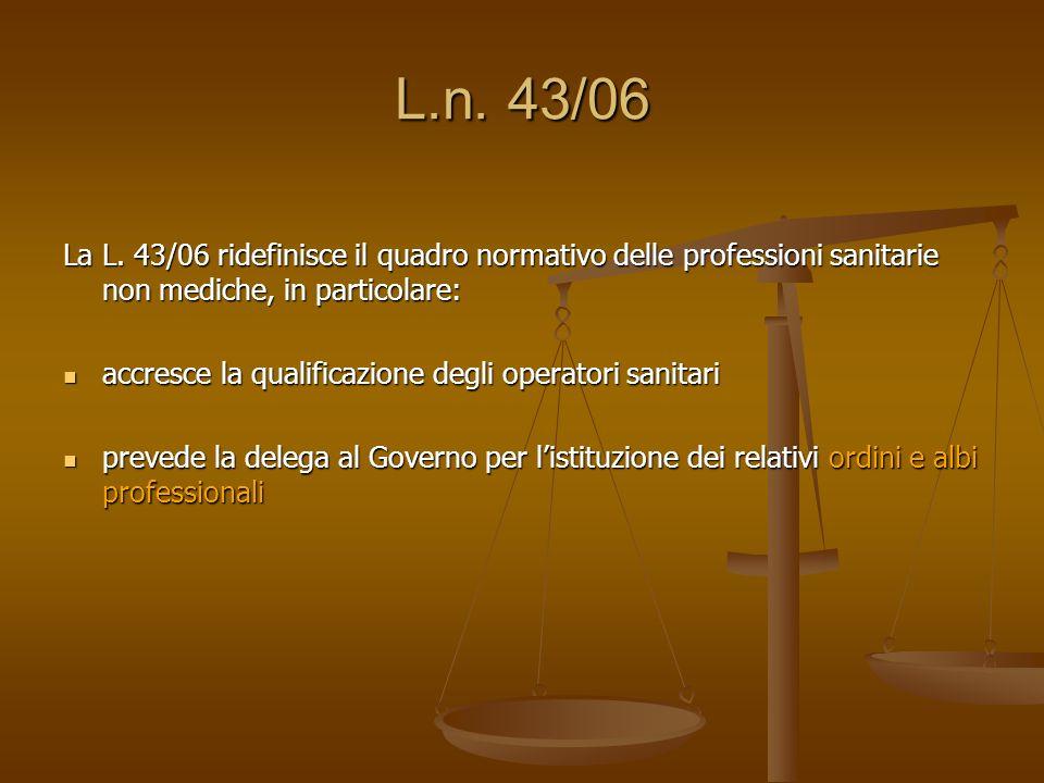 L.n. 43/06 La L. 43/06 ridefinisce il quadro normativo delle professioni sanitarie non mediche, in particolare: