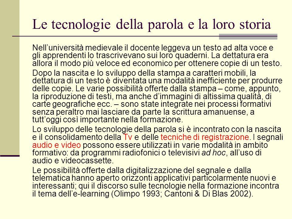Le tecnologie della parola e la loro storia