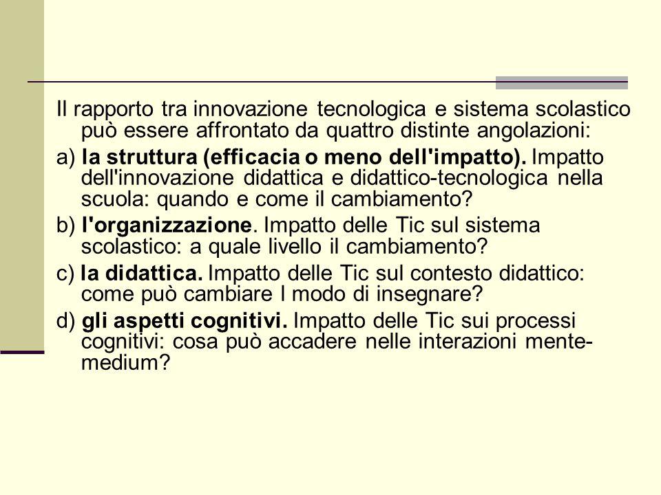 Il rapporto tra innovazione tecnologica e sistema scolastico può essere affrontato da quattro distinte angolazioni: