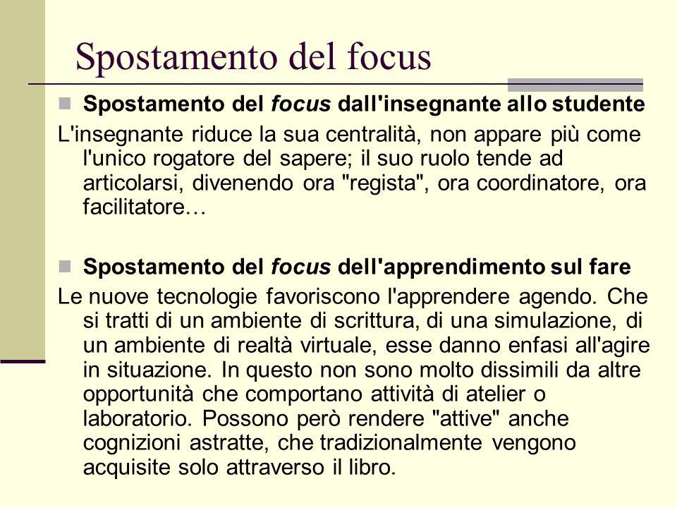 Spostamento del focus Spostamento del focus dall insegnante allo studente.