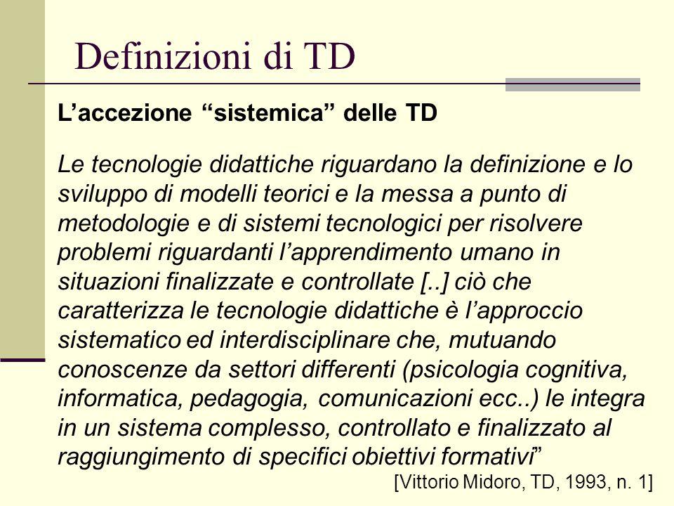 Definizioni di TD L'accezione sistemica delle TD