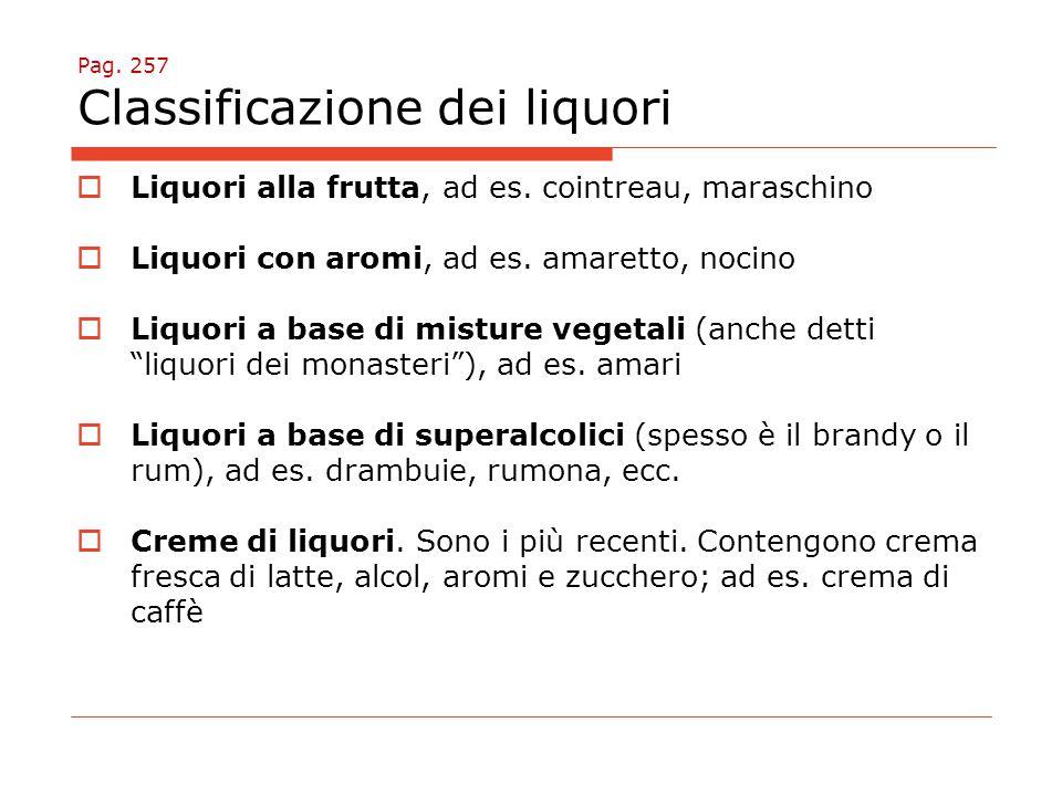 Pag. 257 Classificazione dei liquori