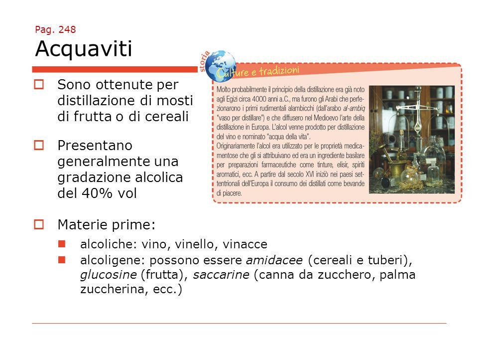 Sono ottenute per distillazione di mosti di frutta o di cereali