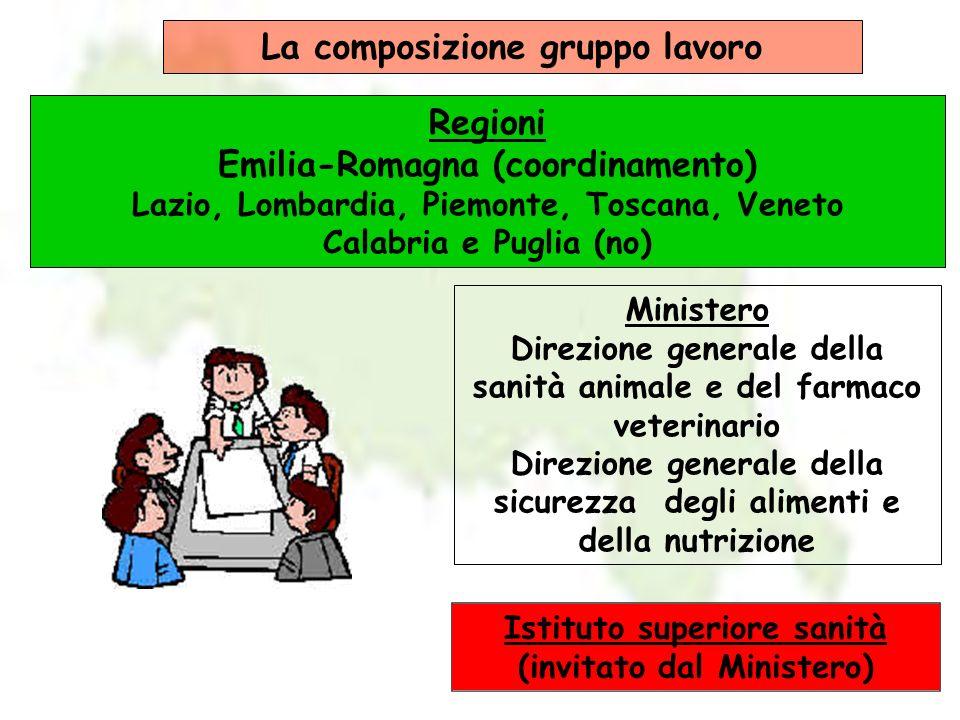 La composizione gruppo lavoro Regioni Emilia-Romagna (coordinamento)