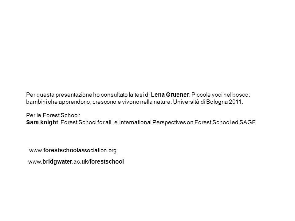 Per questa presentazione ho consultato la tesi di Lena Gruener: Piccole voci nel bosco: bambini che apprendono, crescono e vivono nella natura. Università di Bologna 2011.
