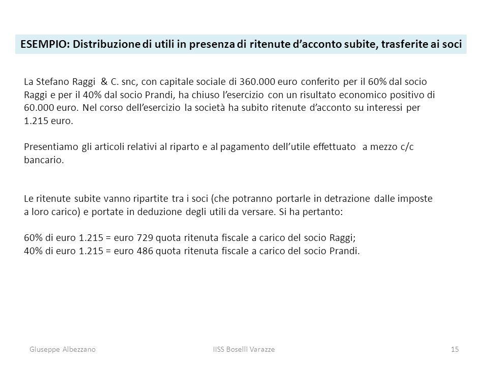 ESEMPIO: Distribuzione di utili in presenza di ritenute d'acconto subite, trasferite ai soci