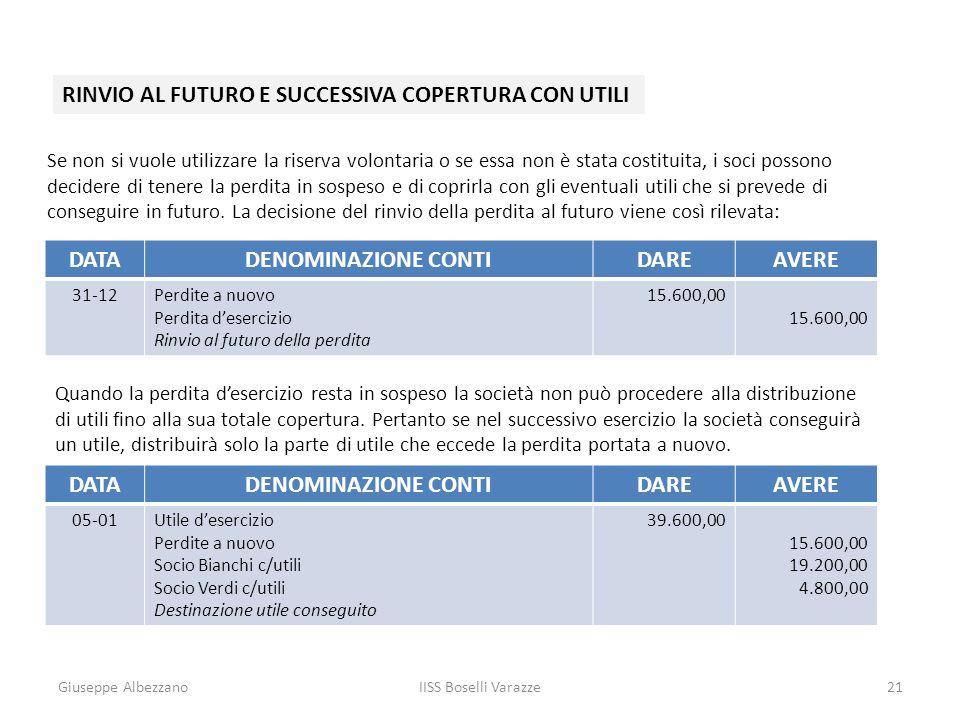 RINVIO AL FUTURO E SUCCESSIVA COPERTURA CON UTILI