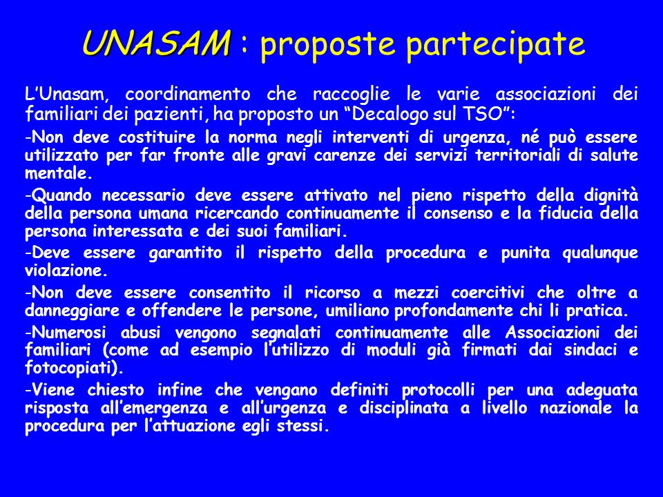 UNASAM : proposte partecipate