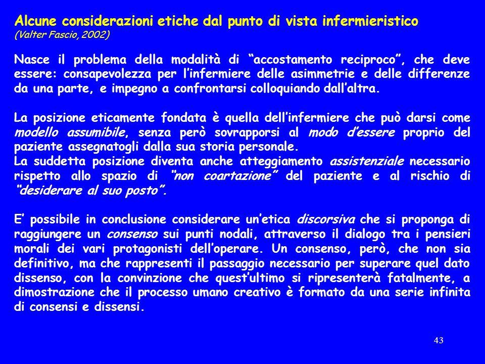 Alcune considerazioni etiche dal punto di vista infermieristico