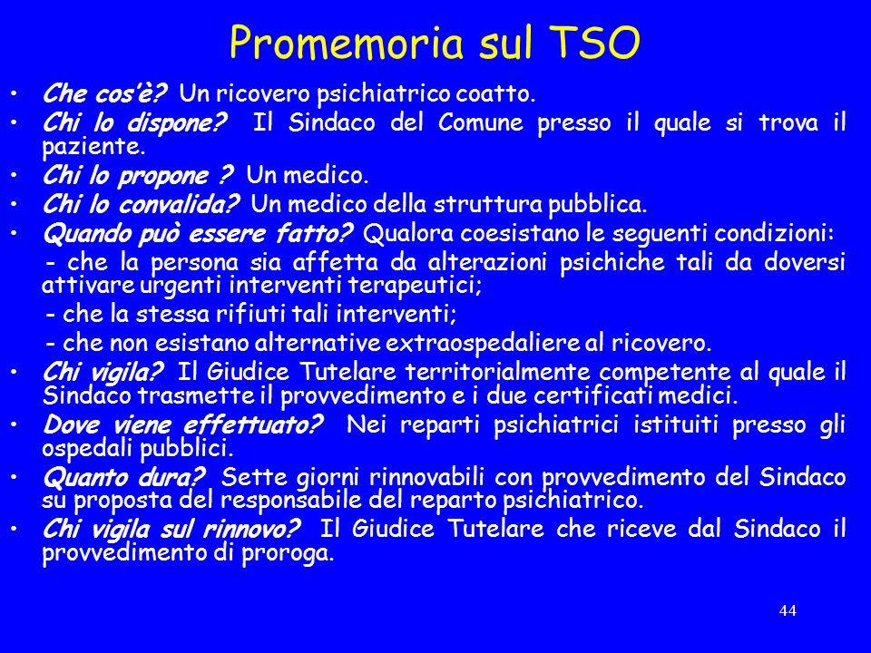 Promemoria sul TSO Che cos'è Un ricovero psichiatrico coatto.