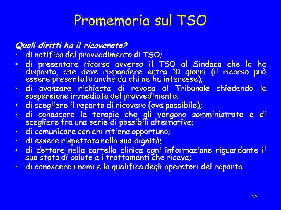 Promemoria sul TSO Quali diritti ha il ricoverato