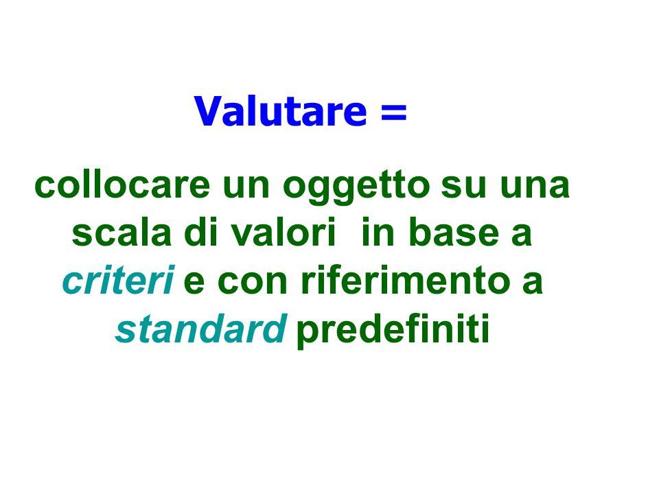 Valutare =collocare un oggetto su una scala di valori in base a criteri e con riferimento a standard predefiniti.
