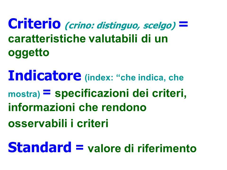 Criterio (crino: distinguo, scelgo) = caratteristiche valutabili di un oggetto