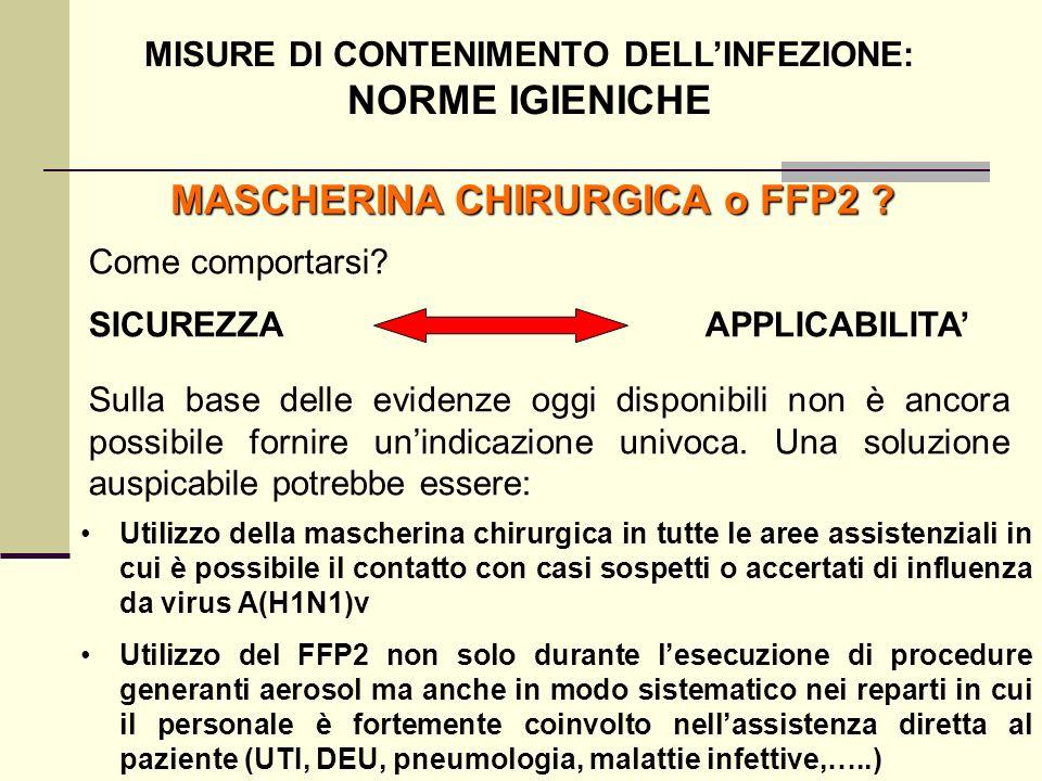 MISURE DI CONTENIMENTO DELL'INFEZIONE: MASCHERINA CHIRURGICA o FFP2